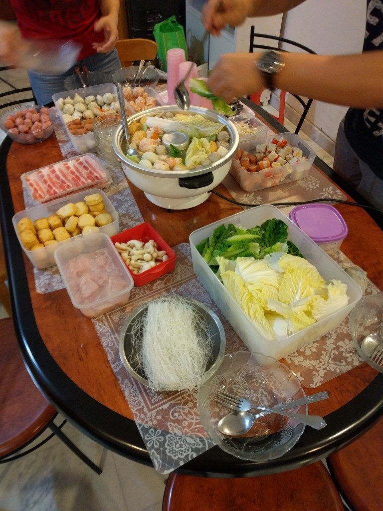 An amazing Steamboat meal, or Chinese Hot Pot, for a birthday party put on by our AirBnB host.