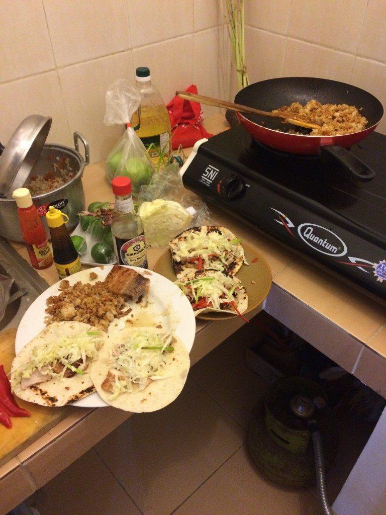 Bali Taco Tuesday at the Kremer house. Mahi Mahi fish tacos!